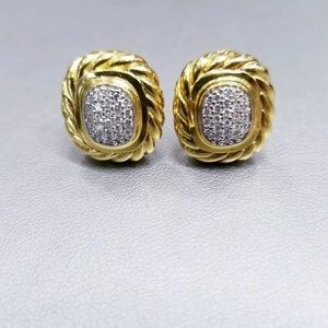 DAVID YURMAN ALBION 18K GOLD AND DIAMOND EARRINGS